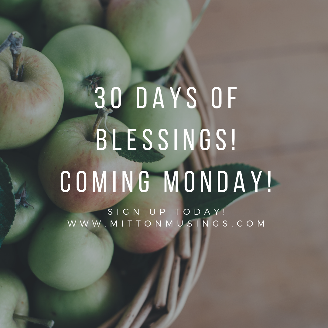 30 Days of Blessings!Coming Monday!